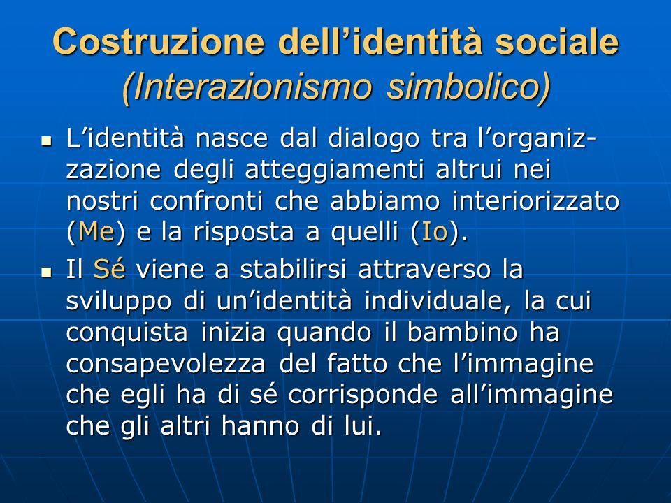Costruzione dellidentità sociale (Interazionismo simbolico) Lidentità nasce dal dialogo tra lorganiz- zazione degli atteggiamenti altrui nei nostri co