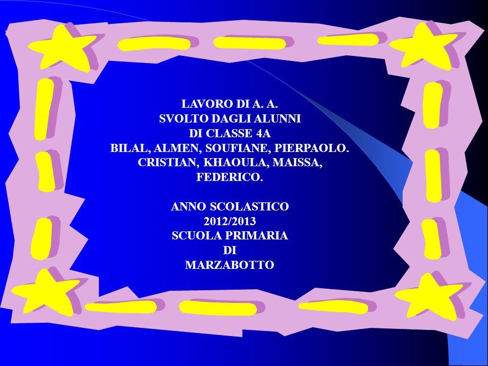 LAVORO DI A. A. SVOLTO DAGLI ALUNNI DI CLASSE 4A BILAL, ALMEN, SOUFIANE, PIERPAOLO.