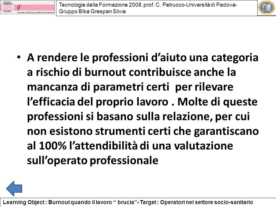 Tecnologie della Formazione 2008, prof. C. Petrucco-Università di Padova- Gruppo Biba Grespan Silvia A rendere le professioni daiuto una categoria a r
