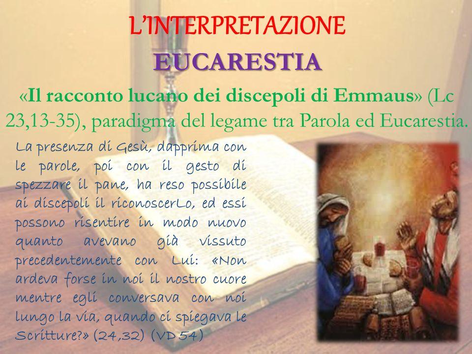 LINTERPRETAZIONE EUCARESTIA La presenza di Gesù, dapprima con le parole, poi con il gesto di spezzare il pane, ha reso possibile ai discepoli il ricon