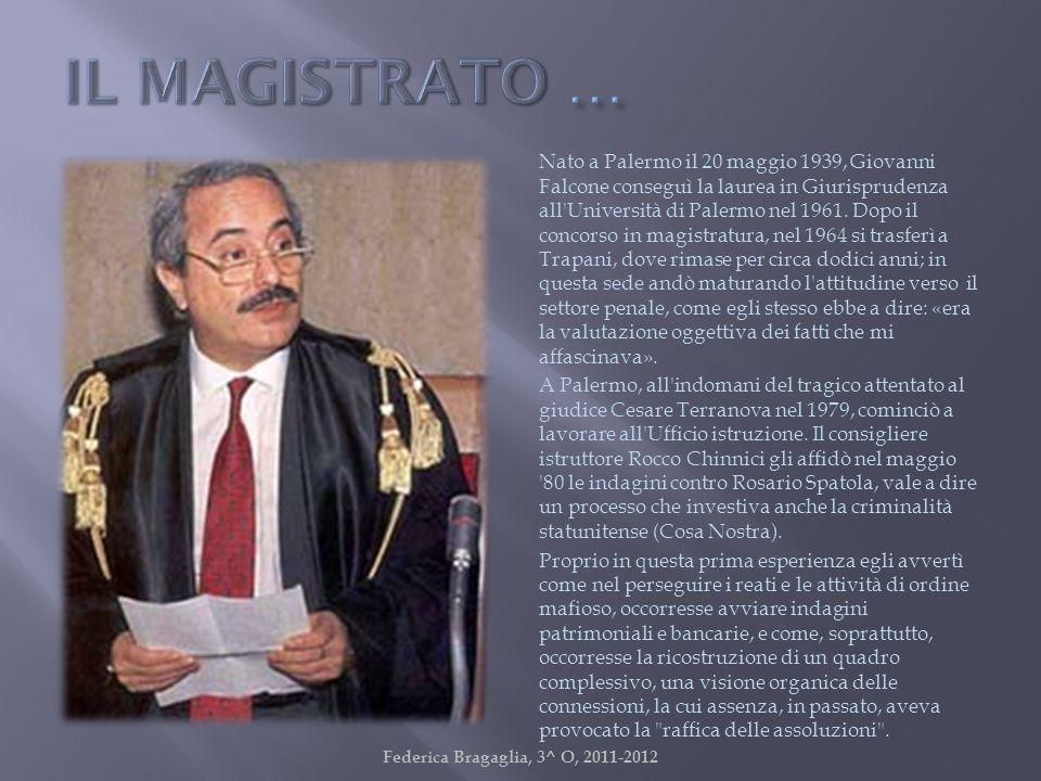 Nato a Palermo il 20 maggio 1939, Giovanni Falcone conseguì la laurea in Giurisprudenza all'Università di Palermo nel 1961. Dopo il concorso in magist