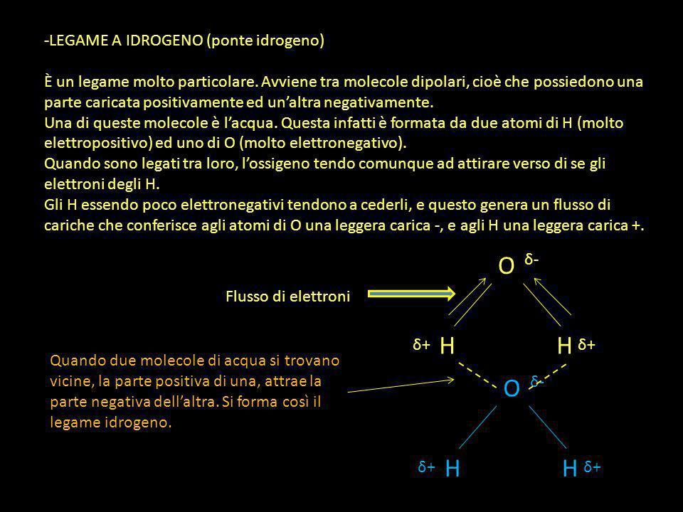 -LEGAME A IDROGENO (ponte idrogeno) È un legame molto particolare. Avviene tra molecole dipolari, cioè che possiedono una parte caricata positivamente