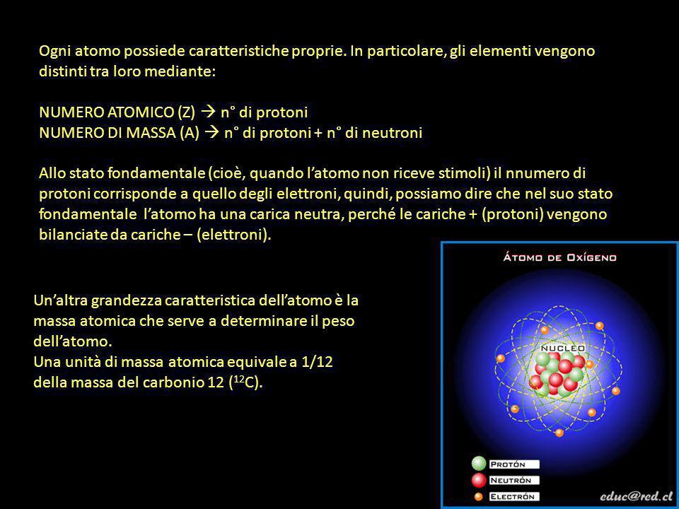 Ogni atomo possiede caratteristiche proprie. In particolare, gli elementi vengono distinti tra loro mediante: NUMERO ATOMICO (Z) n° di protoni NUMERO