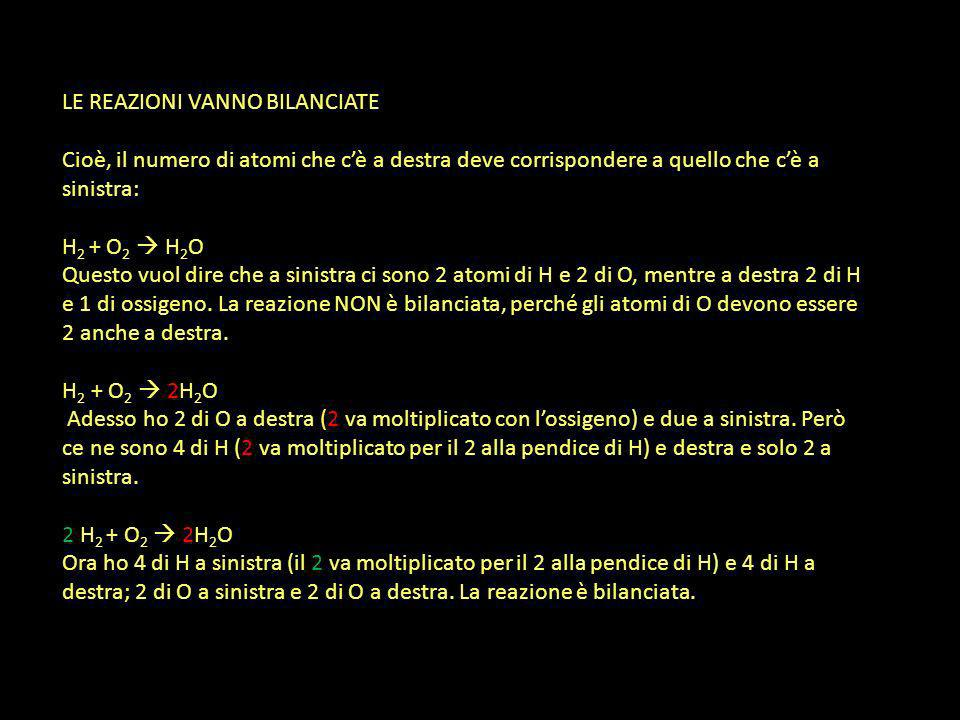 LE REAZIONI VANNO BILANCIATE Cioè, il numero di atomi che cè a destra deve corrispondere a quello che cè a sinistra: H 2 + O 2 H 2 O Questo vuol dire che a sinistra ci sono 2 atomi di H e 2 di O, mentre a destra 2 di H e 1 di ossigeno.