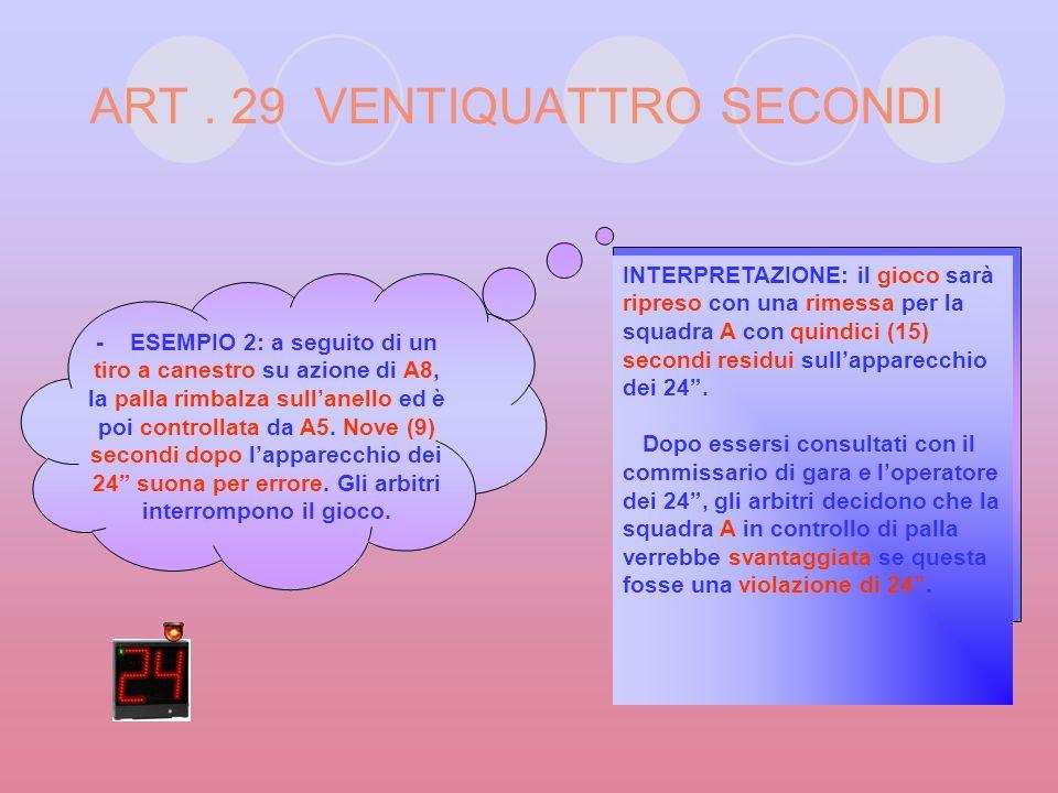 ART. 29 VENTIQUATTRO SECONDI - ESEMPIO 1: con 0:25 da giocare nellultimo minuto della gara e sul punteggio di A 72 – B 72, la squadra A ottiene il con