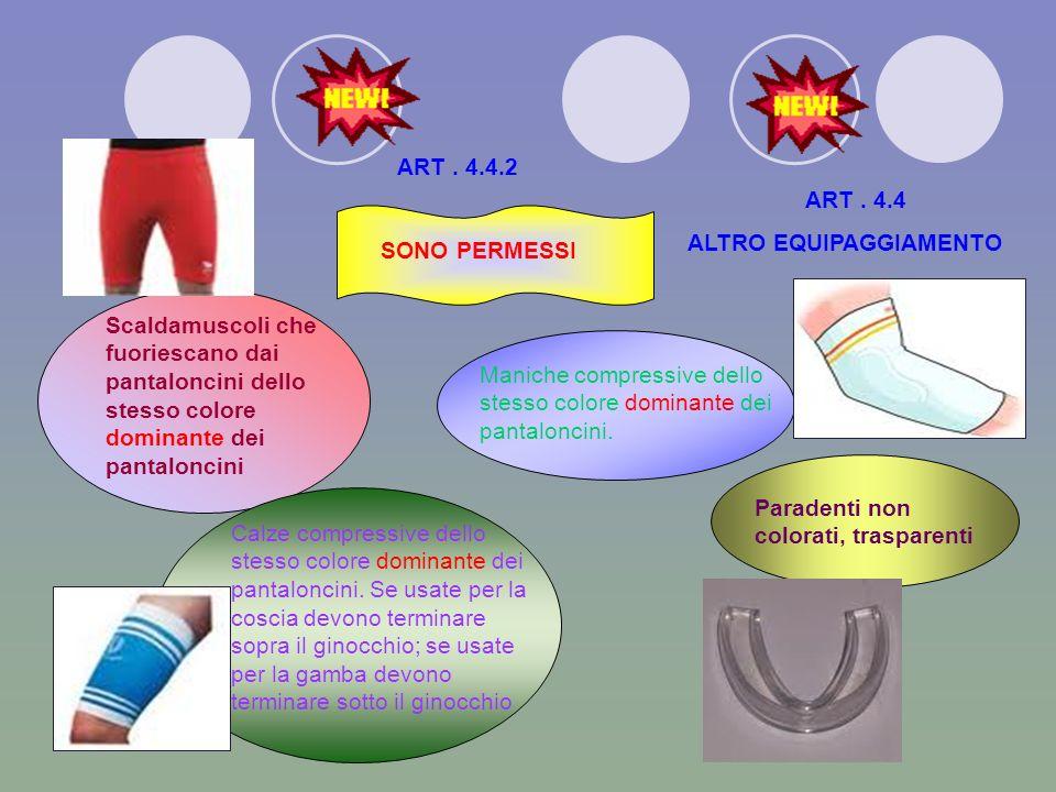 ART. 4.3 DIVISE 4.3.1 La divisa dei componenti della squadra consiste di:.............. Calzettoni dello stesso colore predominante per tutti i giocat