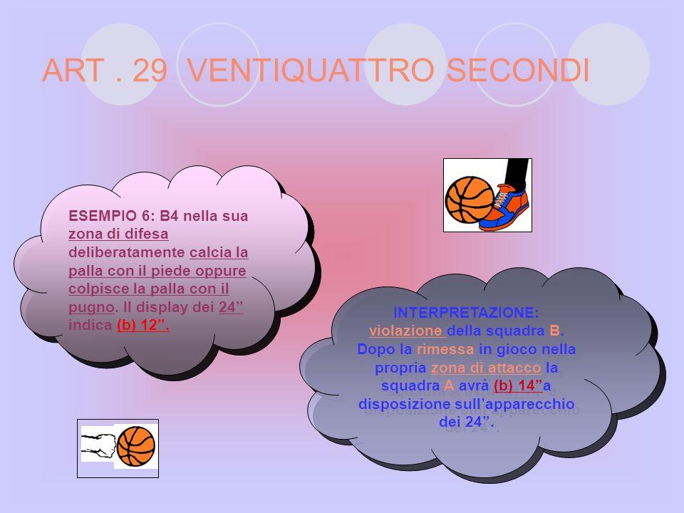 ART. 29 VENTIQUATTRO SECONDI INTERPRETAZIONE: violazione della squadra B. Dopo la rimessa in gioco nella propria zona di attacco la squadra A avrà (a)