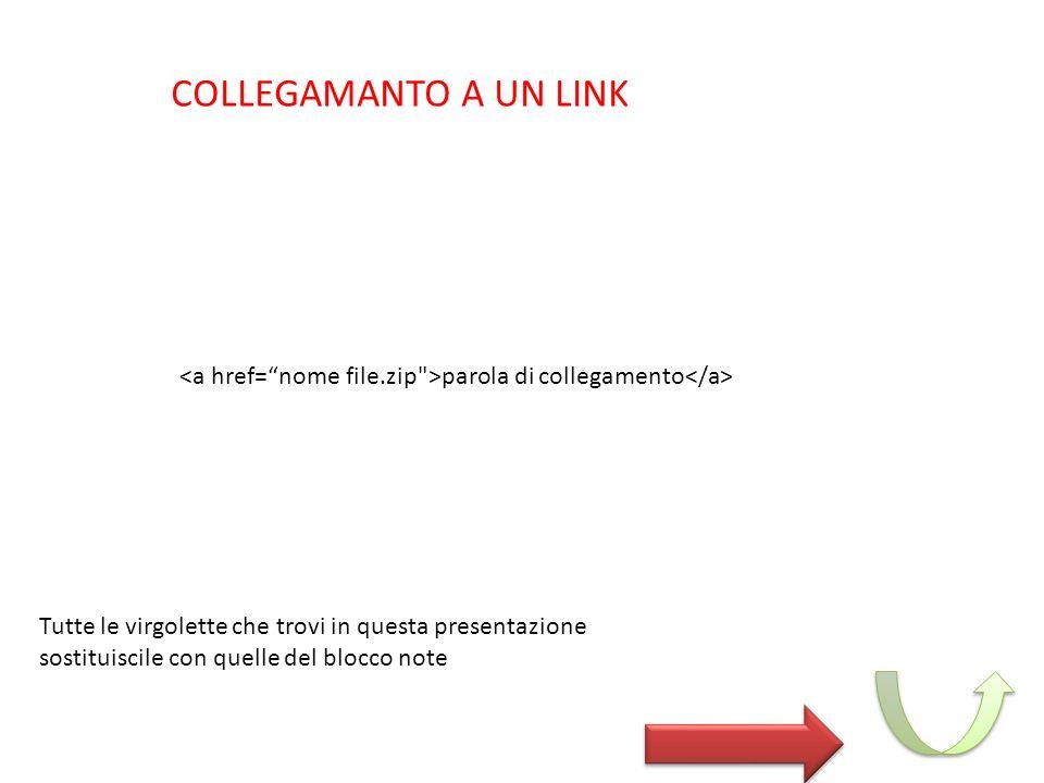 COLLEGAMANTO A UN LINK parola di collegamento Tutte le virgolette che trovi in questa presentazione sostituiscile con quelle del blocco note