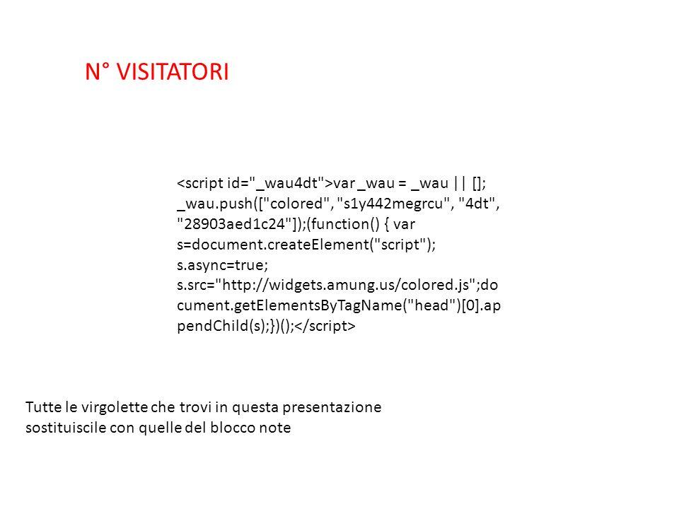 var _wau = _wau || []; _wau.push([ colored , s1y442megrcu , 4dt , 28903aed1c24 ]);(function() { var s=document.createElement( script ); s.async=true; s.src= http://widgets.amung.us/colored.js ;do cument.getElementsByTagName( head )[0].ap pendChild(s);})(); N° VISITATORI Tutte le virgolette che trovi in questa presentazione sostituiscile con quelle del blocco note