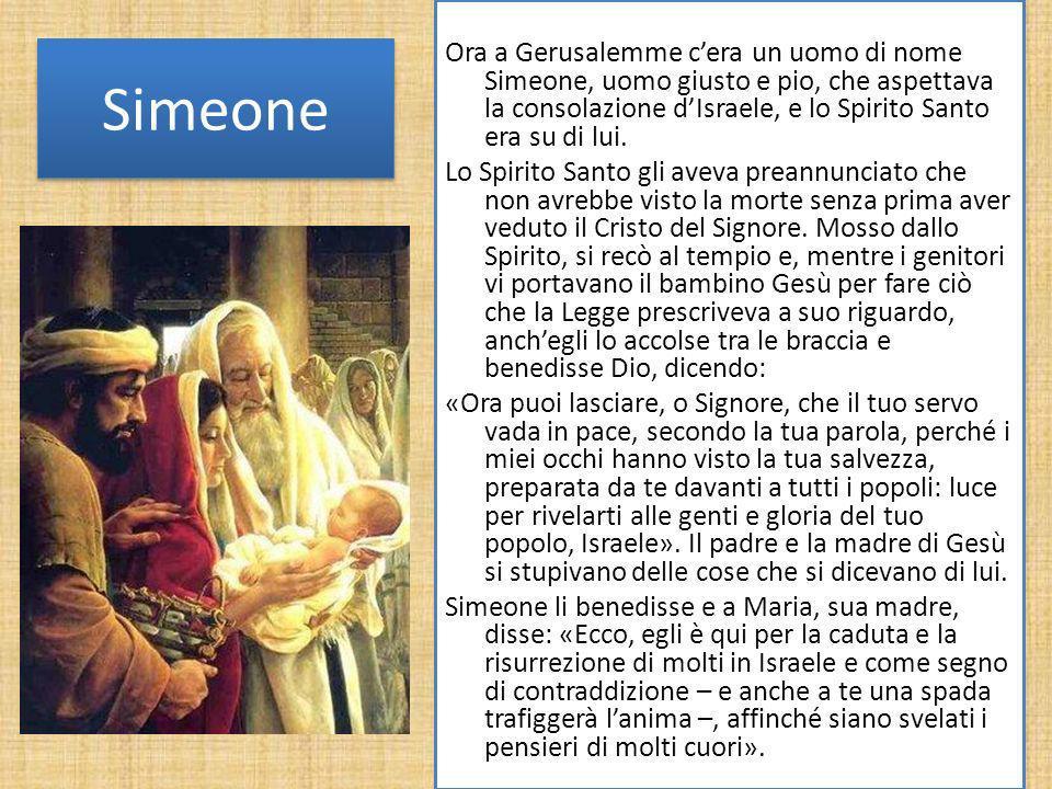 Simeone Ora a Gerusalemme cera un uomo di nome Simeone, uomo giusto e pio, che aspettava la consolazione dIsraele, e lo Spirito Santo era su di lui. L
