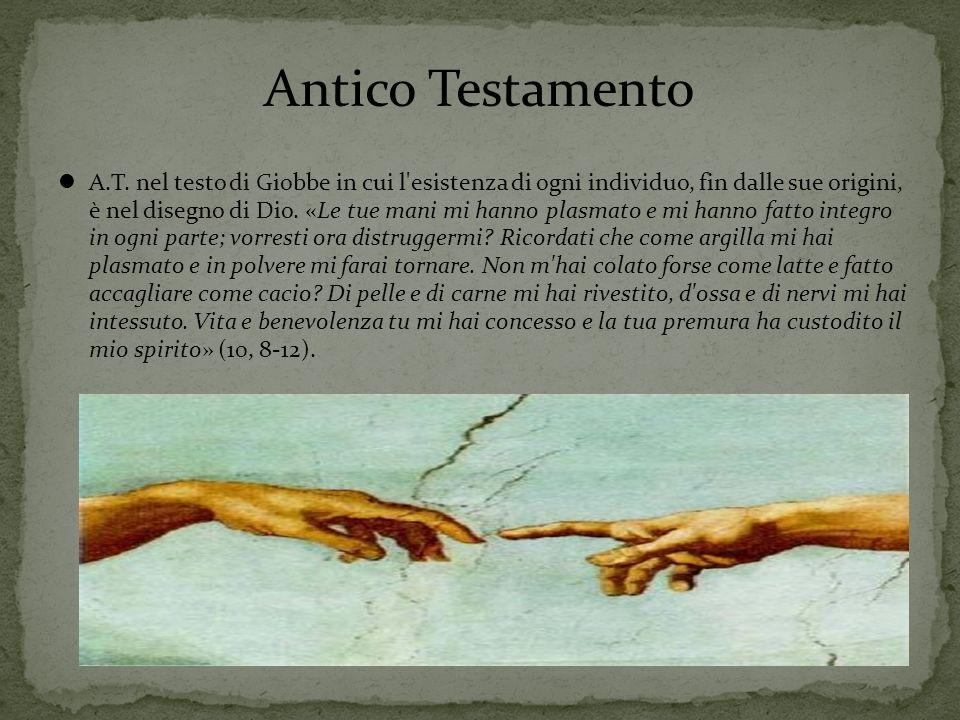 Antico Testamento A.T. nel testo di Giobbe in cui l'esistenza di ogni individuo, fin dalle sue origini, è nel disegno di Dio. «Le tue mani mi hanno pl