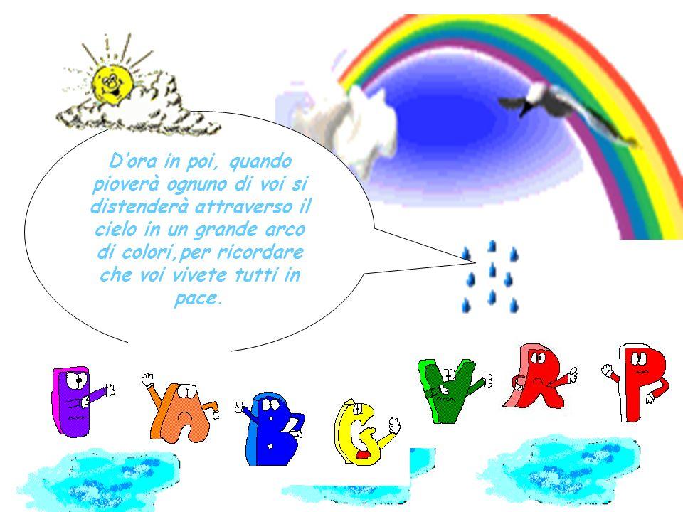 La pioggia disse: Voi sciocchi colori litigate tra di voi e ognuno cerca di dominare gli altri… Non sapete che ognuno di voi e stato fatto per un prec