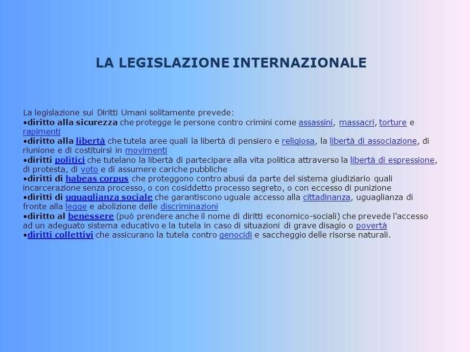 LA LEGISLAZIONE INTERNAZIONALE La legislazione sui Diritti Umani solitamente prevede: diritto alla sicurezza che protegge le persone contro crimini co