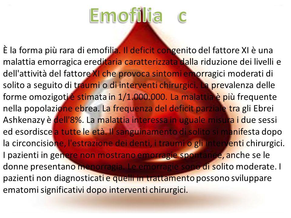 È la forma più rara di emofilia. Il deficit congenito del fattore XI è una malattia emorragica ereditaria caratterizzata dalla riduzione dei livelli e