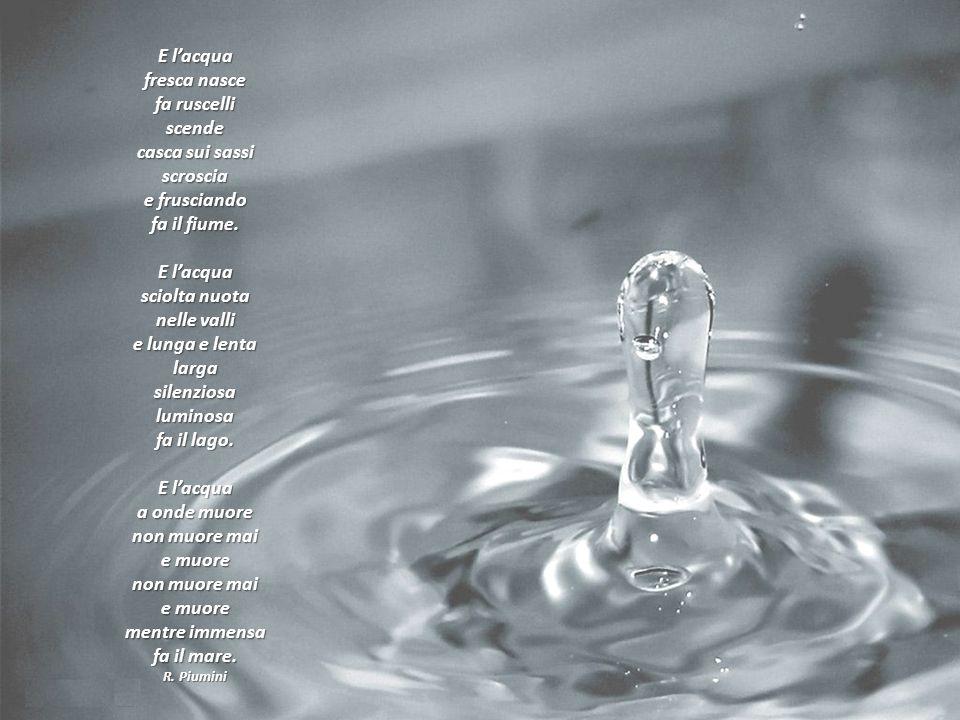 E lacqua fresca nasce fa ruscelli scende casca sui sassi scroscia e frusciando fa il fiume. E lacqua sciolta nuota nelle valli e lunga e lenta larga s