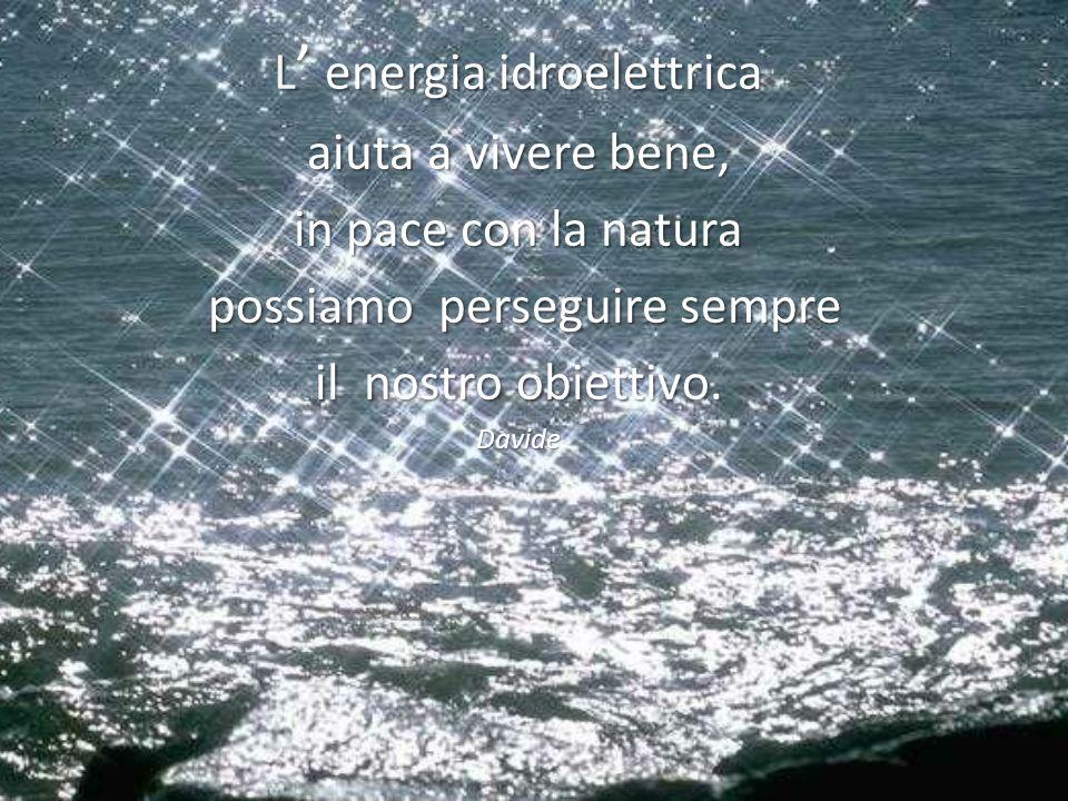 L energia idroelettrica aiuta a vivere bene, in pace con la natura possiamo perseguire sempre il nostro obiettivo. Davide