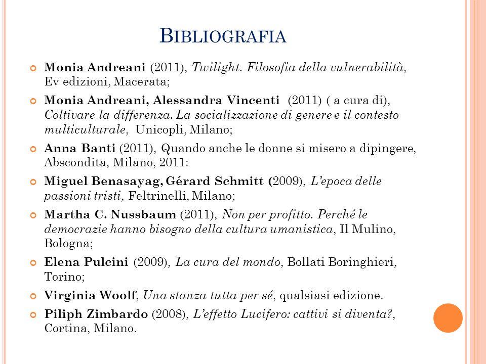 B IBLIOGRAFIA Monia Andreani (2011), Twilight. Filosofia della vulnerabilità, Ev edizioni, Macerata; Monia Andreani, Alessandra Vincenti (2011) ( a cu
