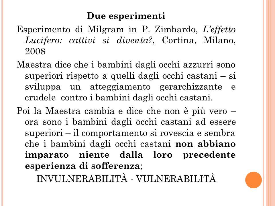 Due esperimenti Esperimento di Milgram in P. Zimbardo, Leffetto Lucifero: cattivi si diventa?, Cortina, Milano, 2008 Maestra dice che i bambini dagli