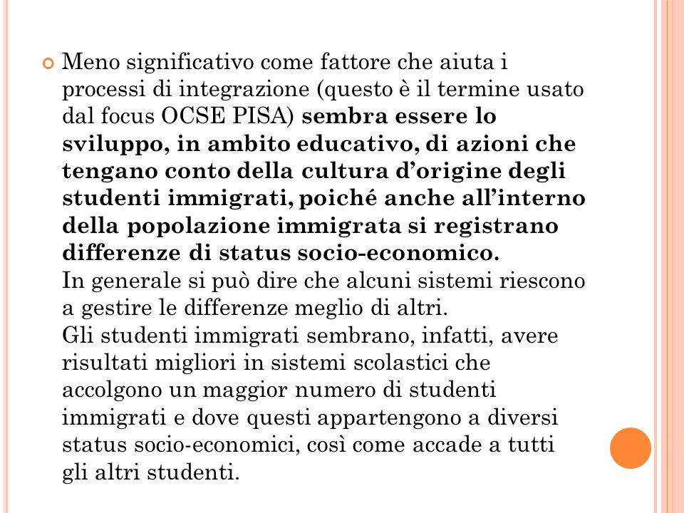 Meno significativo come fattore che aiuta i processi di integrazione (questo è il termine usato dal focus OCSE PISA) sembra essere lo sviluppo, in amb