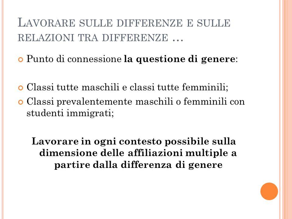 L AVORARE SULLE DIFFERENZE E SULLE RELAZIONI TRA DIFFERENZE … Punto di connessione la questione di genere : Classi tutte maschili e classi tutte femmi