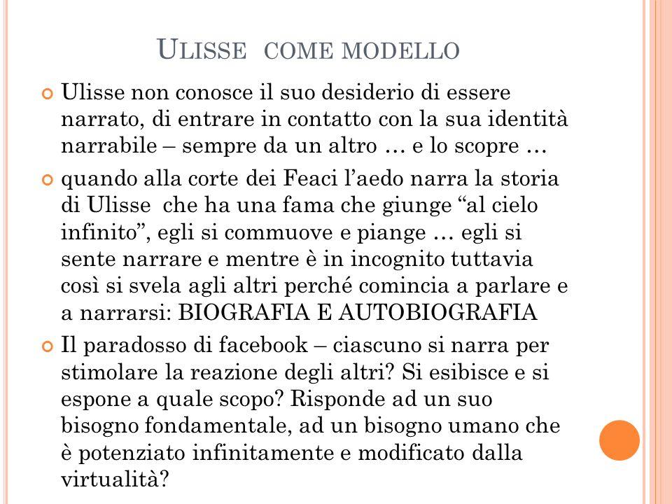 U LISSE COME MODELLO Ulisse non conosce il suo desiderio di essere narrato, di entrare in contatto con la sua identità narrabile – sempre da un altro