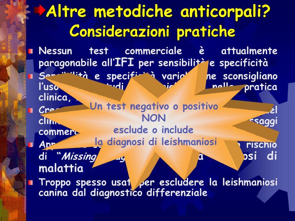 Altre metodiche anticorpali? vantaggi e svantaggi Emoagglutinazione IHAT : antigene Leishmania Donovani, specifico ma poco sensibile (< 60%) Test di a