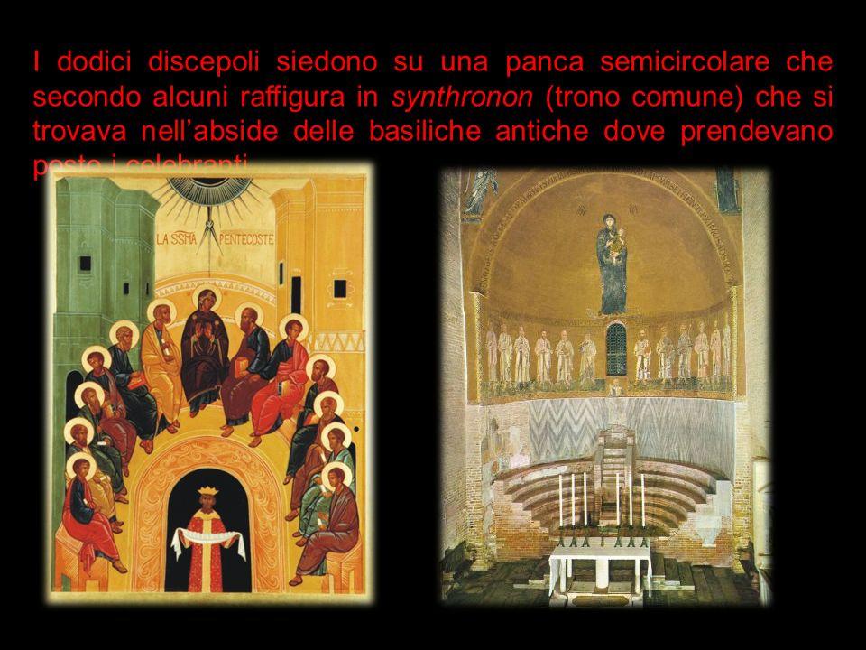I dodici discepoli siedono su una panca semicircolare che secondo alcuni raffigura in synthronon (trono comune) che si trovava nellabside delle basili