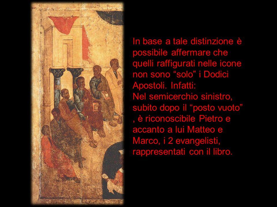 In base a tale distinzione è possibile affermare che quelli raffigurati nelle icone non sono solo i Dodici Apostoli. Infatti: Nel semicerchio sinistro