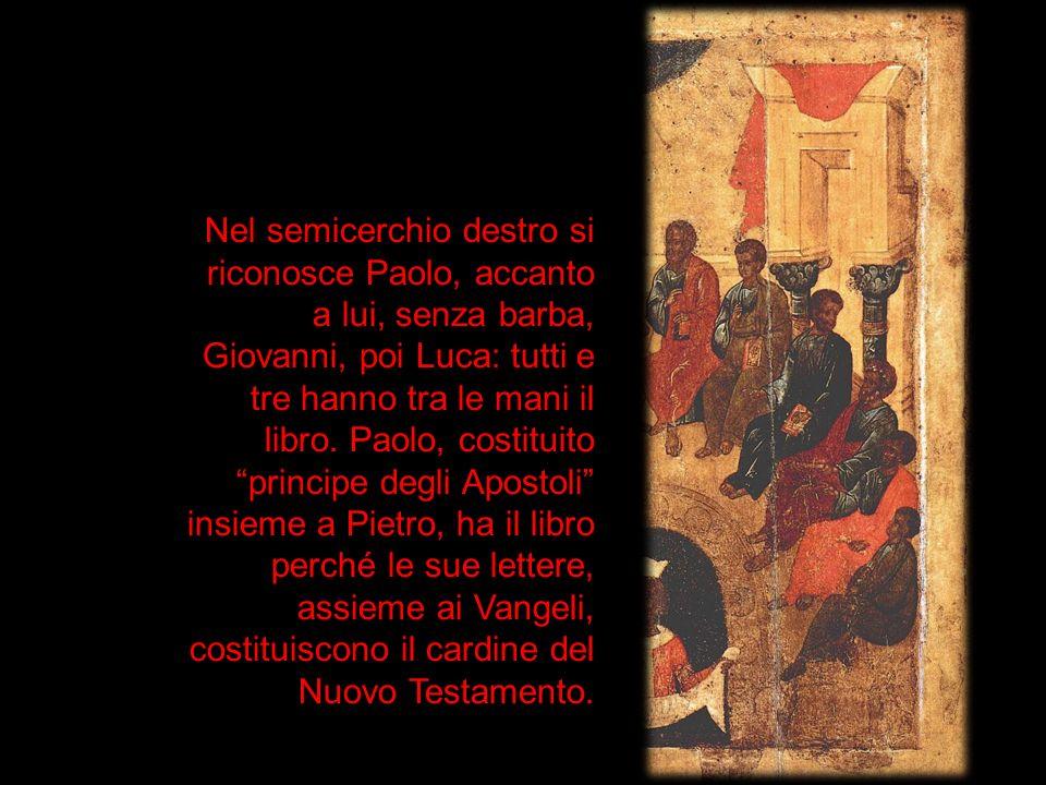 Nel semicerchio destro si riconosce Paolo, accanto a lui, senza barba, Giovanni, poi Luca: tutti e tre hanno tra le mani il libro. Paolo, costituito p