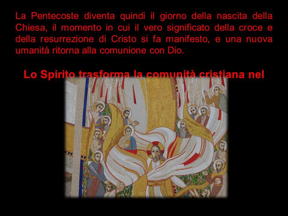 La Pentecoste diventa quindi il giorno della nascita della Chiesa, il momento in cui il vero significato della croce e della resurrezione di Cristo si