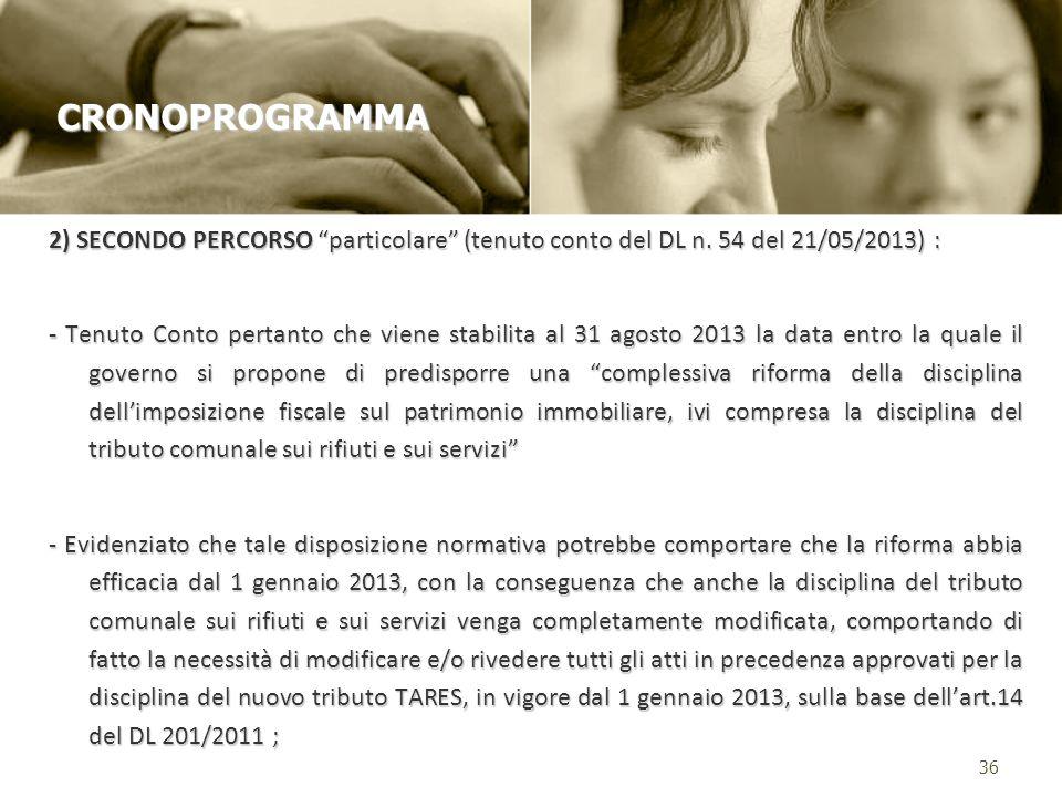2) SECONDO PERCORSO particolare (tenuto conto del DL n.