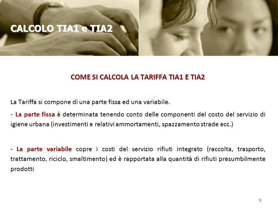COME SI CALCOLA LA TARIFFA TIA1 E TIA2 La Tariffa si compone di una parte fissa ed una variabile.