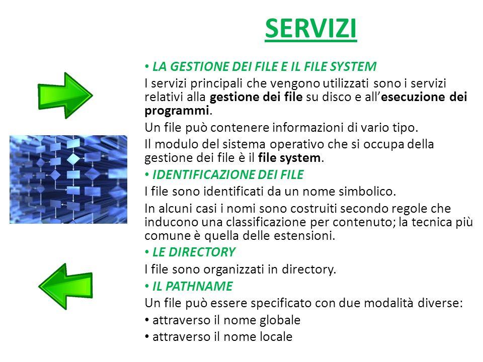 SERVIZI LA GESTIONE DEI FILE E IL FILE SYSTEM I servizi principali che vengono utilizzati sono i servizi relativi alla gestione dei file su disco e allesecuzione dei programmi.