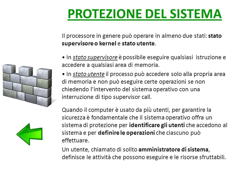 PROTEZIONE DEL SISTEMA Il processore in genere può operare in almeno due stati: stato supervisore o kernel e stato utente.