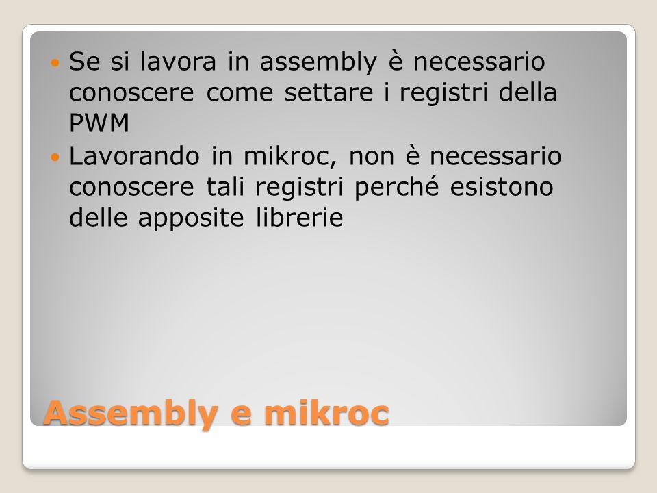 Assembly e mikroc Se si lavora in assembly è necessario conoscere come settare i registri della PWM Lavorando in mikroc, non è necessario conoscere tali registri perché esistono delle apposite librerie
