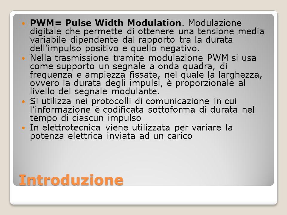 Introduzione PWM= Pulse Width Modulation. Modulazione digitale che permette di ottenere una tensione media variabile dipendente dal rapporto tra la du