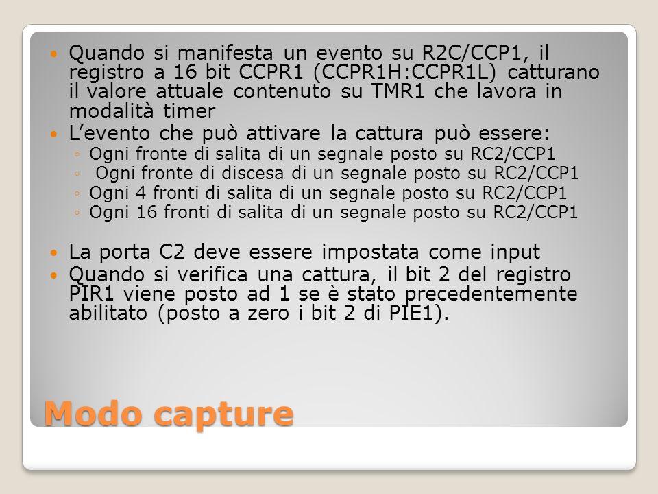 Modo capture Quando si manifesta un evento su R2C/CCP1, il registro a 16 bit CCPR1 (CCPR1H:CCPR1L) catturano il valore attuale contenuto su TMR1 che l