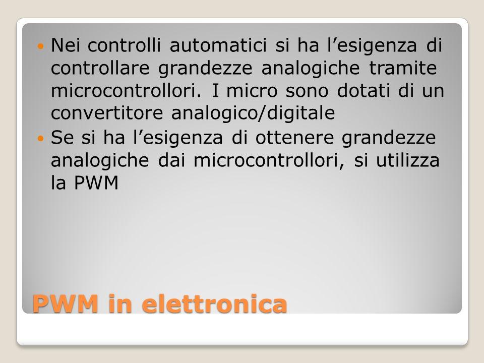 PWM in elettronica Nei controlli automatici si ha lesigenza di controllare grandezze analogiche tramite microcontrollori.