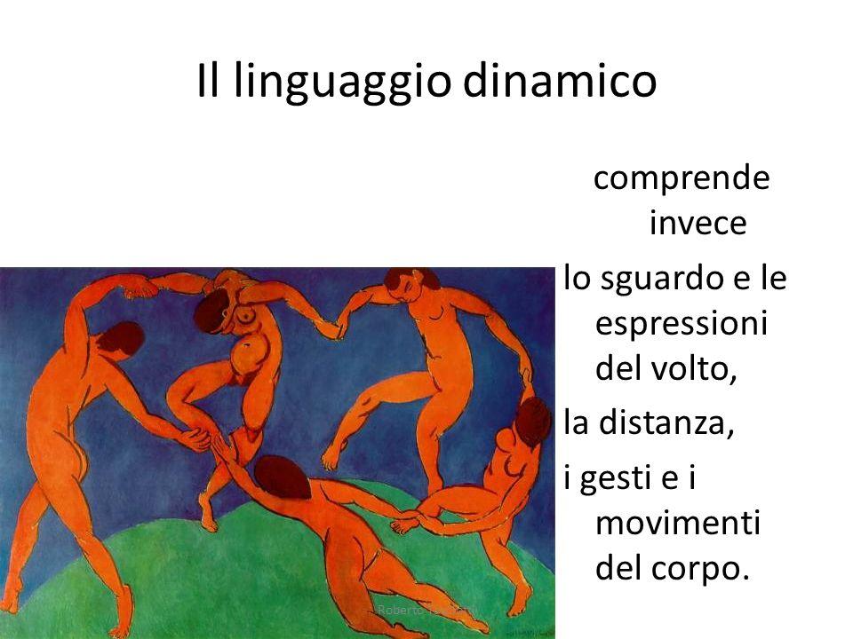 Il linguaggio dinamico comprende invece lo sguardo e le espressioni del volto, la distanza, i gesti e i movimenti del corpo.