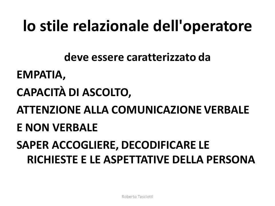 lo stile relazionale dell operatore deve essere caratterizzato da EMPATIA, CAPACITÀ DI ASCOLTO, ATTENZIONE ALLA COMUNICAZIONE VERBALE E NON VERBALE SAPER ACCOGLIERE, DECODIFICARE LE RICHIESTE E LE ASPETTATIVE DELLA PERSONA Roberto Tasciotti