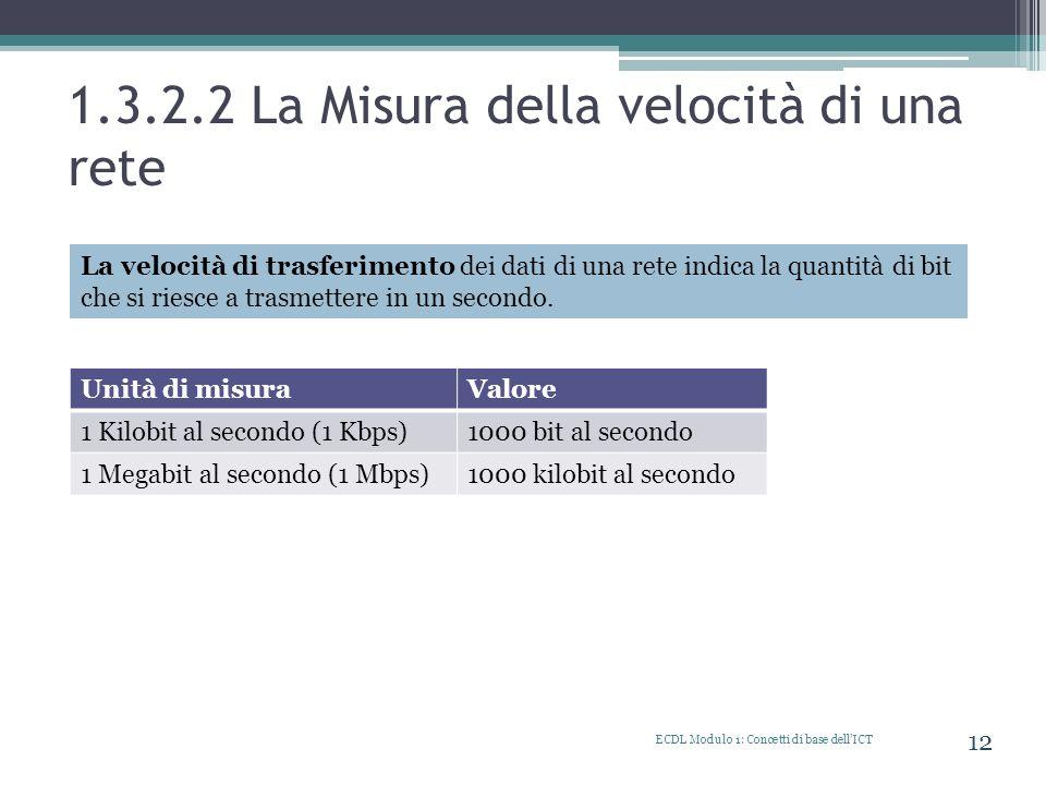 1.3.2.2 La Misura della velocità di una rete ECDL Modulo 1: Concetti di base dellICT 12 La velocità di trasferimento dei dati di una rete indica la qu