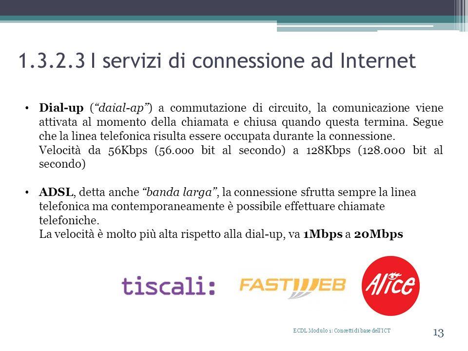 1.3.2.3 I servizi di connessione ad Internet ECDL Modulo 1: Concetti di base dellICT 13 Dial-up (daial-ap) a commutazione di circuito, la comunicazion