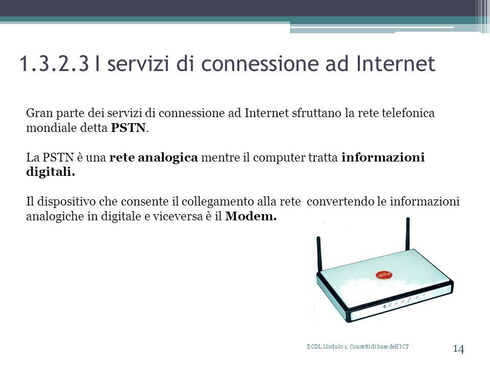 1.3.2.3 I servizi di connessione ad Internet ECDL Modulo 1: Concetti di base dellICT 14 Gran parte dei servizi di connessione ad Internet sfruttano la