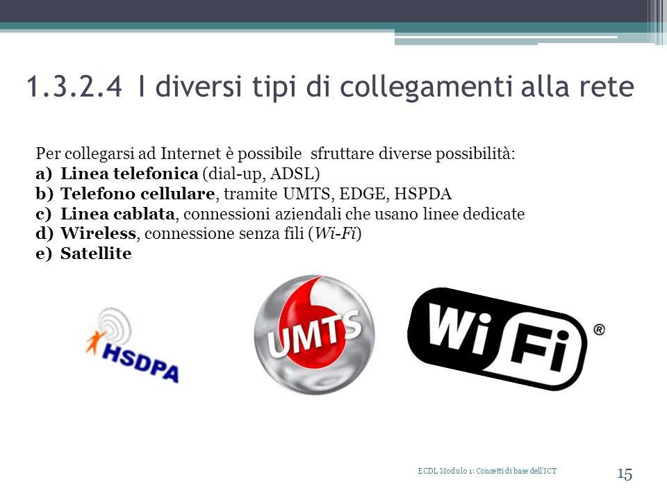1.3.2.4 I diversi tipi di collegamenti alla rete ECDL Modulo 1: Concetti di base dellICT 15 Per collegarsi ad Internet è possibile sfruttare diverse p