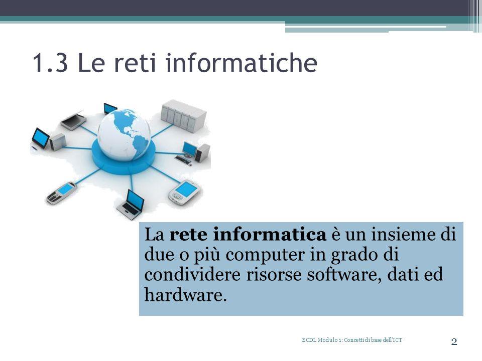 1.3 Le reti informatiche La rete informatica è un insieme di due o più computer in grado di condividere risorse software, dati ed hardware. ECDL Modul