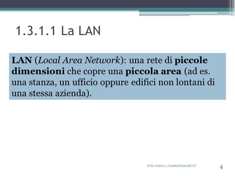 1.3.2.4 I diversi tipi di collegamenti alla rete ECDL Modulo 1: Concetti di base dellICT 15 Per collegarsi ad Internet è possibile sfruttare diverse possibilità: a)Linea telefonica (dial-up, ADSL) b)Telefono cellulare, tramite UMTS, EDGE, HSPDA c)Linea cablata, connessioni aziendali che usano linee dedicate d)Wireless, connessione senza fili (Wi-Fi) e)Satellite
