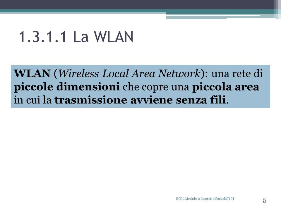 1.3.1.1 La WLAN ECDL Modulo 1: Concetti di base dellICT 5 WAN (Wide Area Network) WLAN (Wireless Local Area Network): una rete di piccole dimensioni c