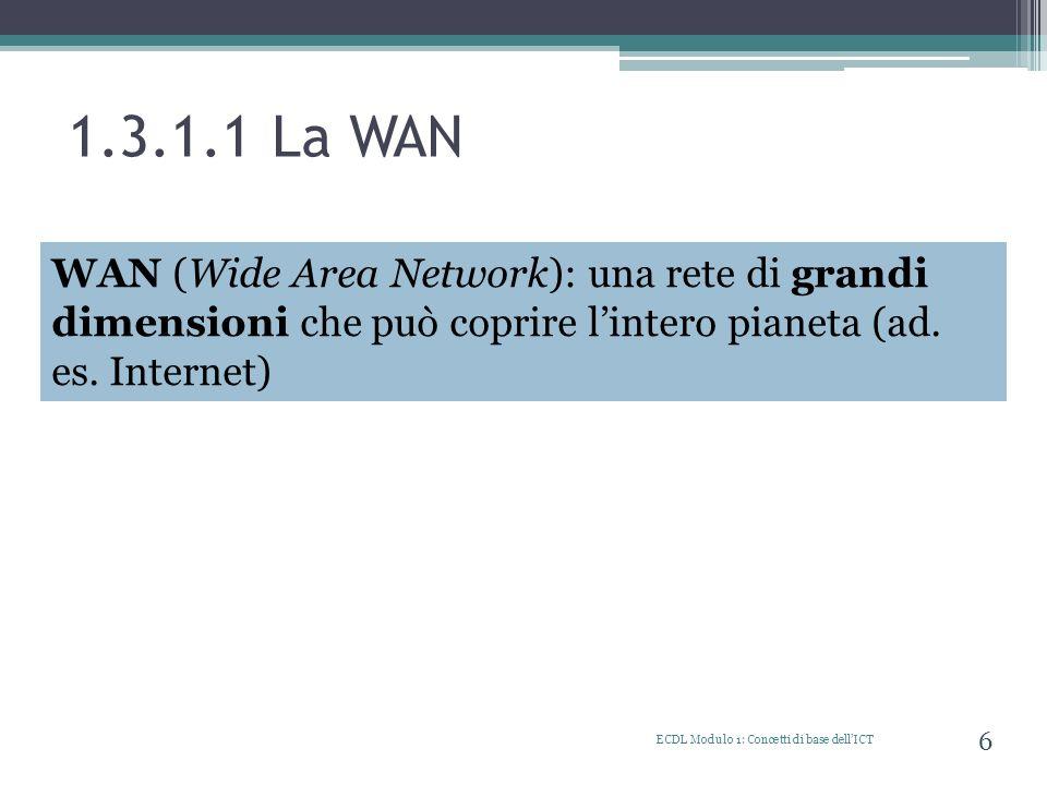 1.3.2.5 Caratteristiche della banda larga (ADSL) ECDL Modulo 1: Concetti di base dellICT 17 Per potersi collegare ad Internet attraverso lADSL è necessario avere: 1.una linea telefonica fissa 2.un modem ADSL 3.un contratto con un ISP (Internet Service Provider) per usufruire del servizio di connessione Tariffe ADSL Flat (o tariffa fissa) canone fisso mensile non dipendente dal tempo di collegamento Free (a consumo) Il costo dipende dal tempo di connessio ne