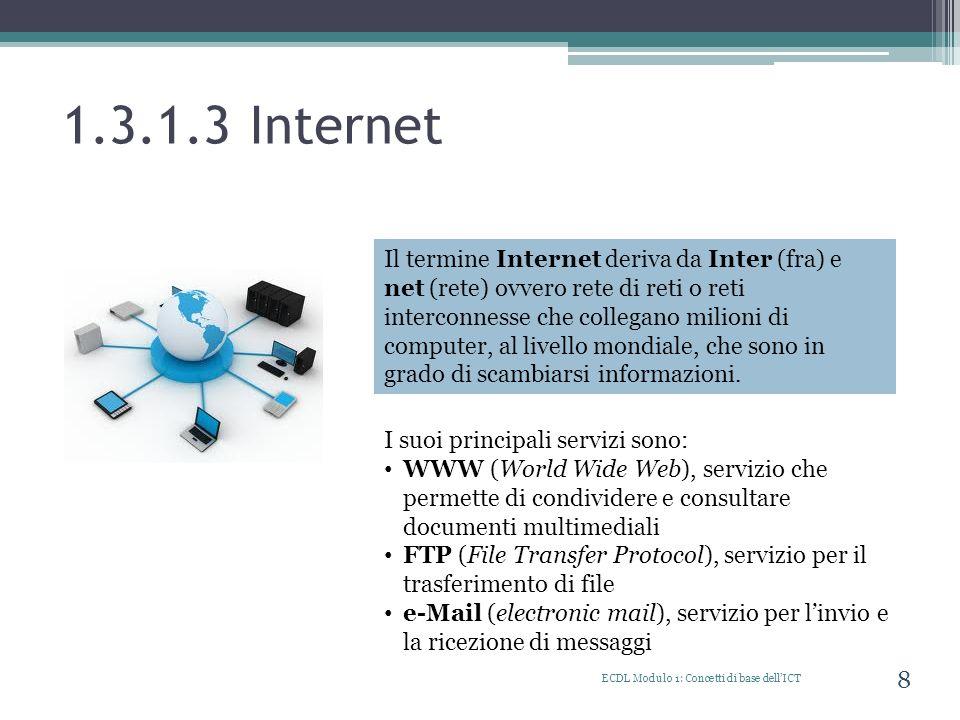 1.3.1.4 Intranet ECDL Modulo 1: Concetti di base dellICT 9 Una Intranet è una rete chiusa alla quale possono accedere solo gli utenti autorizzati.
