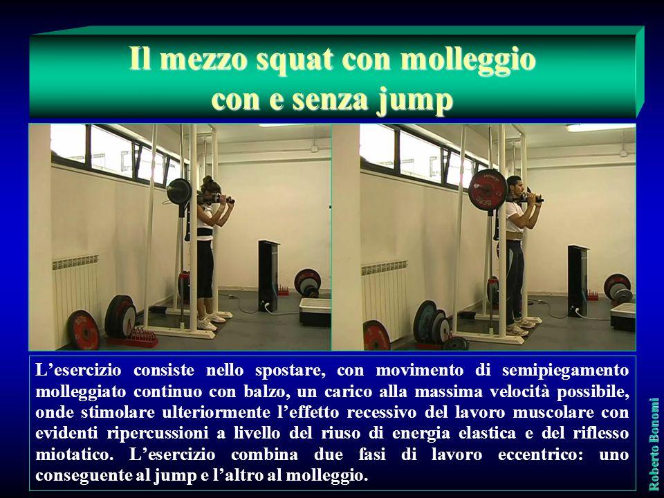 Vengono utilizzati due esercizi: ½ squat molleggio-estensione ½ squat molleggio-estensione ½ squat molleggio-balzo ½ squat molleggio-balzo Roberto Bon